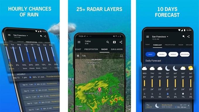 اپلیکیشن پیش بینی آب و هوای 1Weather